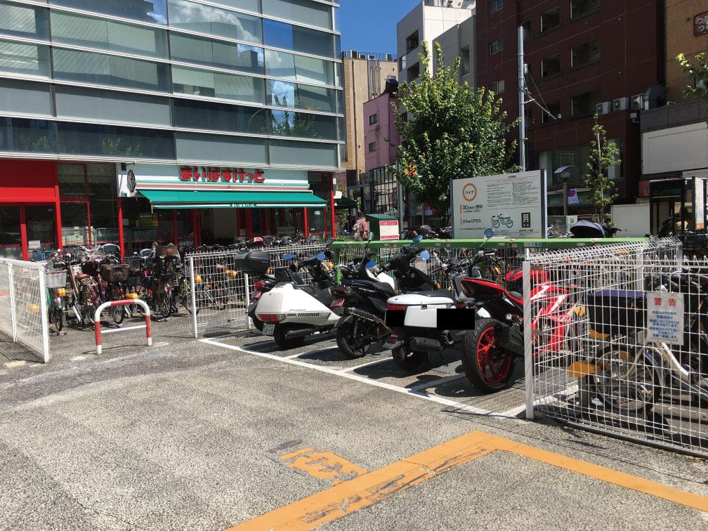 ECOステーション21 大久保駅前駐輪場のバイク置き場